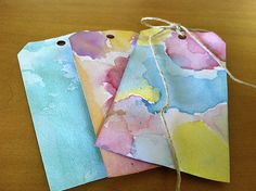 DIY Watercolor Gift Tags >> http://blog.diynetwork.com/maderemade/how-to/reality-test-diy-watercolor-gift-tags/?soc=pinterest