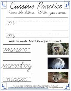 Learn how to form the cursive lowercase letters 'm' through 'r' with these printable cursive worksheets & activities. Cursive Writing Worksheets, Reading Worksheets, Cursive Letters, Handwriting Practice, Free Math, Letter Recognition, Three Words, Simple Words, Kids Writing