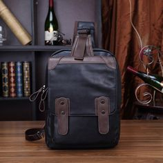 PU Leather Men Crossbody Bag Casual Large Capacity Chest Bag for IPAD - US$30.28