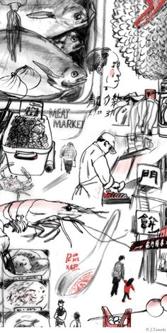 Jillian Tamaki – NYC Chinatown, illustration with traditional media