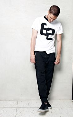 24/7 Novak Players Distorted Tee in White // 24/7 Knockout Slim Jogger in Jimon Selvedge