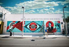 Nouveau mural de Shepard Fairey (Obey) et de son équipe réalisé en décembre dernier à Miami. En partenariat avec la marque Hublot pour l'école de design et d'architecture (DASH)  Retrouver les oeuvres de Shepard Fairey sur notre site soldart.com   #shepardfairey #obeygiant #mural #muralist #art #miami #miamiartbasel #miamiart #hublot #hublotwatch #dash #artdistrict #artbasel #oeuvredart #artderue #arturbain #streetart #urbanart #arteurbana #arteurbana #kunst #soldart New Shepard, Shepard Fairey Obey, Ecole Design, Graffiti, Street Art, Future Vision, Art En Ligne, Galerie D'art, Miami