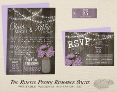 Printable Rustic Wedding Invitation, Mason Jar Wedding Invitation, Country Spring Wedding Invite, Purple, Lavender Peony & String Lights by X3designs