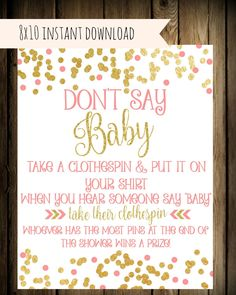 Donu0027t Say Baby Game   Instant Download   Baby Shower Printable   Baby Shower  Activity   Clothespin Game   Baby Shower Game Pink And Gold