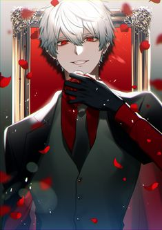 Anime Demon Boy, Emo Anime Girl, Dark Anime Girl, Cool Anime Guys, Handsome Anime Guys, Cute Anime Boy, Guys With White Hair, White Hair Anime Guy, Red Hair Red Eyes