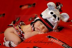 Newborn Photography . . . UGA Football . . . Georgia Bulldogs . . .  Baby Bulldog . . . Go DAWGS! . . . Custom hat and leg warmers