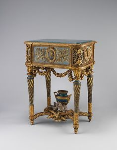 Stand (piètement) for a model of La Samaritaine Maker: Jean-Baptiste Vinceneux (ca. active Date: 1773 Culture: French, Paris Medium: Carved, painted, gilded and silvered walnut; French Furniture, Classic Furniture, Fine Furniture, Luxury Furniture, Antique Furniture, Painted Furniture, Furniture Design, Louis Xvi, Louis Seize