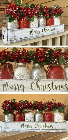 DIY Christmas decorations are fun projects to do with your family and friends. At the same time, DIY Christmas decorations … Diy Christmas Decorations For Home, Christmas Centerpieces, Christmas Diy, Holiday Decor, Centerpiece Ideas, Rustic Christmas, Jar Centerpieces, Christmas Signs, Vintage Christmas