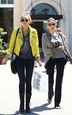 "@Miley Cyrus and her mom went shopping. Miley wore her vintage Iron Maiden shirt (not ours) and looks pretty good. Her mom Tish, however, looks AMAZING in Chaser's ""Slash 8x10 Glossy"" and ""color blocked open cardi""."