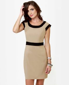 Cute Taupe Dress - Color Block Dress - $35.50 on Wanelo