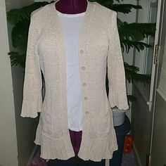 Beautiful belted cardigan Very figure flattering sweater. 3/4 length sleeves, pockets, flares at the bottom. Part cotton, part polyester. Goes great with everything! Feel free to make an offer :) Croft & Barrow Sweaters Cardigans