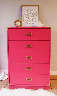 Painted campaign dresser in Benjamin Moore's Peony | by VintageFreshShop on Etsy