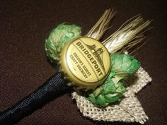 Beer hops and wheat boutonnière for the groom and groomsmen
