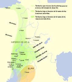 Mapa Tercera Dinastía de Ur. En el Imperio Acadio estallaron rebeliones internas que llevaron a ser vulnerable y se dieron en su territorio incursiones de otros pueblos, los qutu (gúteos) procedentes de los Zagros. Estos se aliaron a las ciudades sumerias enacazadas por Nippur y consiguieron acabar con el poder acadio. Nacen la II din de Lagash y la Tercera Dinastía de Ur (2230-200 a.C). Se da una nueva realidad política, cultural y artística a partir de la asimilación sumerio-acadia.