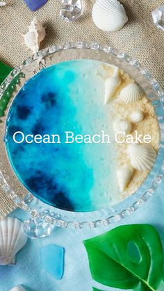 Ocean Cakes, Beach Cakes, Cute Desserts, Delicious Desserts, Yummy Food, Baking Recipes, Dessert Recipes, Jelly Cake, Savoury Cake