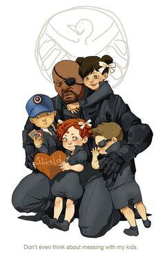 SHIELD Kids || Nick Fury, Maria Hill, Phil Coulson, Natasha Romanoff, Clint Barton ||