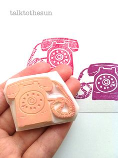 vintage telephone stamp. hand carved rubber stamp. classic dial telephone. card making. on Etsy, $12.00