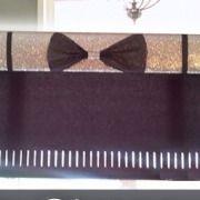 silver glitter pelmet with black bow