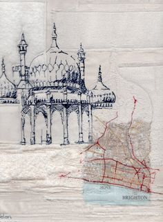 Wendy Dolan - Big Heart AuctionBig Heart Auction Amazing Architecture, Architecture Art, Building Art, A Level Art, Sense Of Place, Urban Sketching, Environmental Art, Textile Artists, Map Art