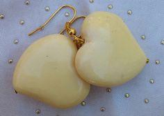 Heart Earrings, Hand Beaded Dangle Heart Earrings, Beige Earrings by RivieBoutique on Etsy