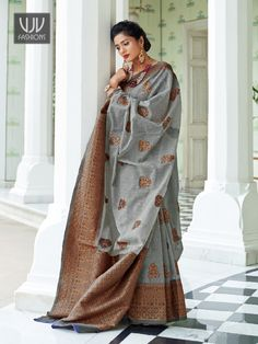 Rs3,100.00 Latest Designer Sarees, Latest Sarees, Indian Sarees, Silk Sarees, Party Wear Sarees, Saree Wedding, New Trends, Lehenga, Gray Color