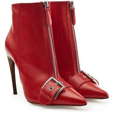 Alexander McQueen Leather Ankle Boots ($1,285) ❤ liked on Polyvore featuring shoes, boots, ankle booties, red, red stilettos, red booties, stiletto ankle boots, buckle ankle boots and buckle booties