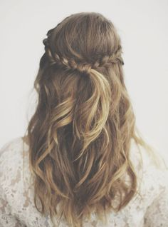 Crown braid with waves #hair #hairstyle.