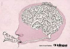 Inlingua Language School campaign - Anyone can experience a mind melt when in a stressful situations, but the Inlingua Language School campaign shows that it can be particularly diffi. Creative Advertising, Advertising Agency, Ad Of The World, European Languages, Language School, Print Ads, Creative Director, Creative Inspiration, Creative Design