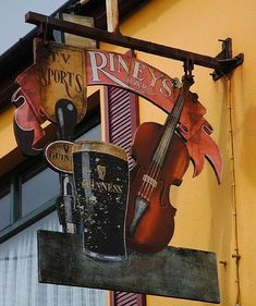 This is my relative's pub. Rineys Bar in Sneem. Sneem is a town situated on the Iveragh Peninsula in County Kerry in the southwest of Ireland. Blade Sign, Metal Signage, Storefront Signs, Old Pub, Pub Signs, Business Signs, Store Signs, Advertising Signs, Hanging Signs