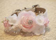 Rosa flores Collar de perro blanco, alta calidad Collar con Perla de flores rosa y blanco y diamantes, de descriptor de acceso de perro rosa blanco boda