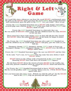 "Winter ""Right & Left"" story/game in reds and greens, baby or bridal shower game, hilarious party/family game by SunnysideCottageArt"