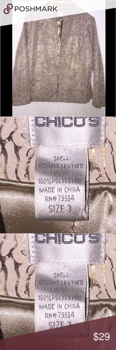 Chicks 💯leather jacket/blazer. Gold metallic and tan, fully lined with eyelet design throughout. Super beautiful in good used condition. Chico's Jackets & Coats Blazers
