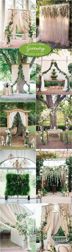 Neutral greenery wedding arch and alter ideas / http://www.deerpearlflowers.com/greenery-wedding-decor-ideas/2/