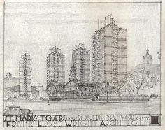 frank lloyd wright drawings | Architizer Blog » Frank Lloyd Wright's Forgotten Plans For New York ...