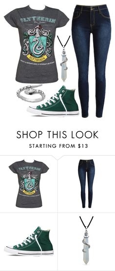 """""""Slytherin"""" by spnlex ❤ liked on Polyvore featuring Converse, Bling Jewelry and Blu Bijoux"""