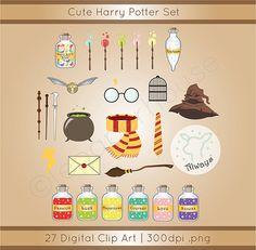 Cute Harry Potter theme clipart digital by lepaperhouse on Etsy Colchas Harry Potter, Harry Potter Quilt, Harry Potter Nursery, Harry Potter Classroom, Harry Potter Anime, Wizard School, Scrapbooking Digital, Vinyl Crafts, Hogwarts