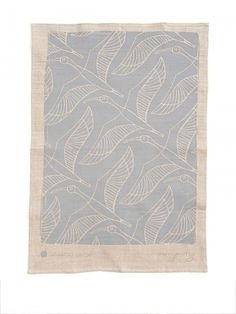 Lucy Simpson gaawaa miyay linen tea towel in mushroom colour ibis print