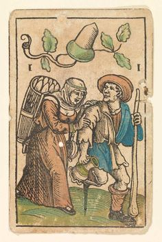 Hans Schäufelein (German, ca. 1480-ca. 1540). 1 of Acorns from The Playing Cards of Hans Schäufelein
