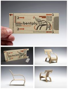 Business card.. chair? || The business card come mini bent plywood chair is for the furniture shop, Bentply, a central London retailer of vintage, modernist furniture. One simply has to follow the instructions and the card can be folded into a miniature of the iconic 1934 plywood armchair designed by Gerald Summers.    It is printed by letterpress on three layers of card for stability, and designed by Richard C Evans.|| Source: http://richardcevans.com/