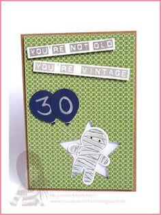Stampin' Up! rosa Mädchen: Geburtstagskarte mit Cookie Cutter Halloween, Labeler Alphabet und Luftballon