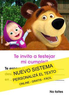 Tarjeta de cumpleaños de Masha y el Oso para imprimir gratis. Personaliza el texto de la tarjeta.