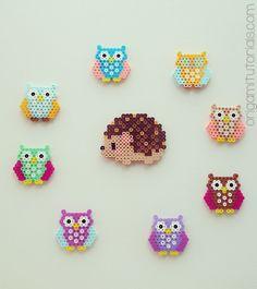 Owl & Hedgehog Perler Bead Art http://origamitutorials.com/owls-iron-beads/