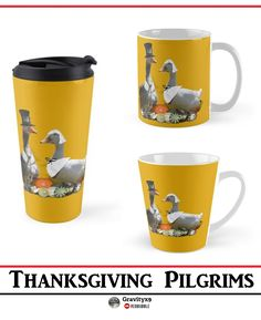 Thanksgiving Pilgrim Goose and Duck Coffee Mugs by #Gravityx9 at Redbubble - This cute couple design is also available on shirts, cards and gifts. #FallSeasonsBest #ThanksgivingGift #ThanksgivingMug #coffeemug