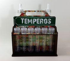Porta Temperos e Galheteiro. www.elo7.com.br/decorachados