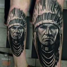 Ideas womens tattoos leg tatoo for 2019 Wolf Tattoos, Best Leg Tattoos, Leg Tattoo Men, 3d Tattoos, Portrait Tattoos, Sleeve Tattoos, Indian Chief Tattoo, Native Indian Tattoos, Native American Tattoos