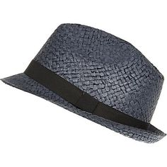 Navy natural straw trilby hat £14.00