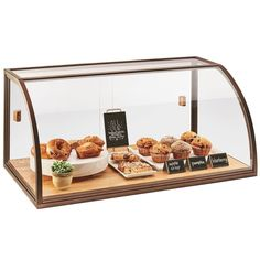 "Cal-Mil 3611 Arched Sliding Door Vintage Bakery Display Case with Wood Base - 36"" x 19 1/2"" x 17 1/4"""