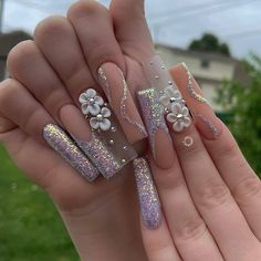 Coffen Nails, Dope Nails, Swag Nails, Acrylic Nails Coffin Pink, Long Square Acrylic Nails, Glamour Nails, Manicure E Pedicure, Pedicures, Flower Nails
