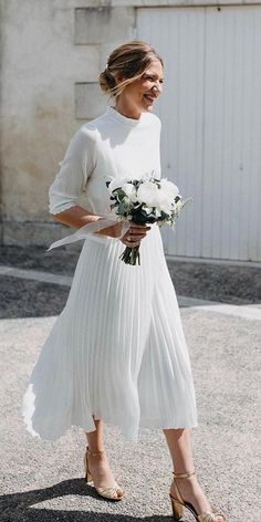 21 Modest Wedding Dresses With Sleeves ❤  modest wedding dresses with sleeves tea length country rustic calistaone ❤ #weddingdresses