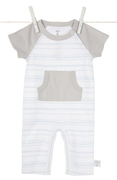 Free shipping and returns on Little Giraffe Kangaroo Pocket Romper (Baby Boys) at Nordstrom.com. A contrast pocket and short raglan sleeves lend modern styling to a striped cotton romper.